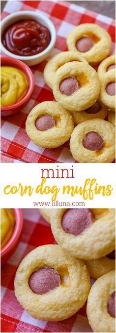 Mini Corn Dog Muffins - mini corn muffins stuffed with cheese and hot dogs. The…