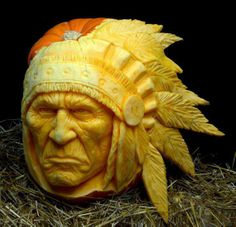 Indian head carved out of a pumpkin. I like!