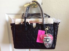 Betsey Johnson Dip Satchel with Removable Pouch Black Cream BB17040 #BetseyJohnson #Satchel