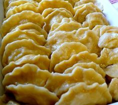 these are my Mom's revered Pierogi. What are pierogi? They are basically the Polish version of a filled dumpling. Polish Recipes, Holiday Recipes, Great Recipes, Favorite Recipes, Polish Food, Christmas Recipes, Ukrainian Recipes, Russian Recipes, Russian Foods