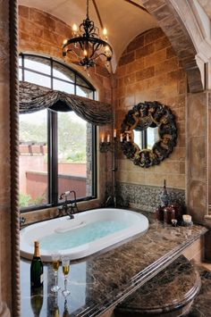 I love this bathroom... the window in the bathroom and the step up to the bathtub.