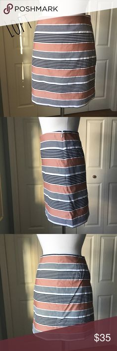 """Black & Terra Cotta Striped Skirt Adorable striped skirt in black and terra cotta hues by Loft. ▪️Side invisible zipper with hook + eye closure ▪️Fully lined ▪️16"""" waist laid flat ▪️19"""" hip laid flat ▪️18"""" long ▪️Like new  🚭 Smoke-free home 📬 Ships by next day 💲 Price negotiable  🔁 Open to trades  💟Happy Poshing!💟 LOFT Skirts Mini"""