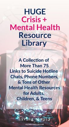 Mental Health and Crisis Library full of mental health, suicide resources for adults, children, and teens. health coping skills health ideas health posters health promotion health tips Teen Mental Health, Mental Health Counseling, Mental Health Resources, Kids Health, Mental Health Awareness, Children Health, Mental Health Advocacy, Mental Health Therapy, Mental Health