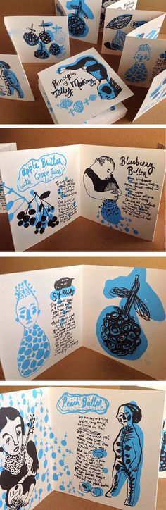 Natalya Balnova / Silk screened book design - Principles of Jelly Making. http://www.designworklife.com/2014/04/17/alliteration-inspiration-jelly-journeying/