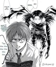 Shingeki no Death Note. I think all the titans would be dead if Eren had the notebook.