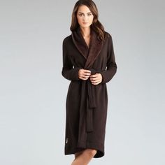 """UGG authentic Duffield brown robe Sz S new UGG authentic Duffield robe Sz S new color brown Made from durable cotton jersey and lined with plush fleece, this robe wraps the body in soft splendor. Details: 94% Cotton, 6% Spandex Polyester fleece Sash tie closure On-seam pockets come sewn shut to Protect them from customers putting their hands while on display You are supposed to cut the seam open with a seam ripper or a small nail cutter. High-low hem 42"""" length UGG Other"""