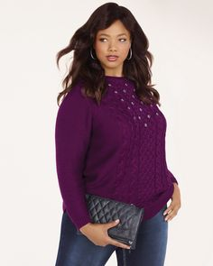 Cable Knit Sweater with Rhinestones | Sparkling rhinestones at front give this classic plus-size sweater a festive touch! Made with a cozy cable-knit fabric, it features a round neck and ribbed detailing at hem and cuffs. Make it girly with a feminine skirt and heels!