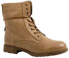 Elara Damen Stiefeletten   Bequeme Biker Boots   Lederoptik  Schnürstiefeletten, Beige-36  Amazon.de  Schuhe   Handtaschen 3e2e441dcb