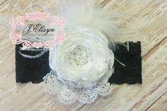 ivory white vintage handmade flower headband-  Large vintage satin lace flower headband on Etsy, $25.00