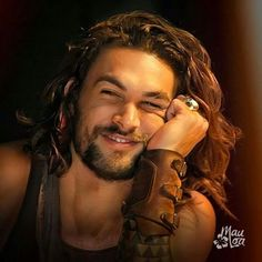Jason Momoa …look at that adorable face! (This is the hair Ronon should have h… Jason Momoa …look at that Khal Drogo, Pretty People, Beautiful People, Simply Beautiful, Jason Momoa Aquaman, Aquaman Actor, Jason Momoa Gif, My Sun And Stars, Hommes Sexy