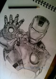 iron man drawing in A3 size paper