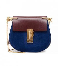 Chloé Drew Mini Suede Shoulder Bag, Brown/Blue