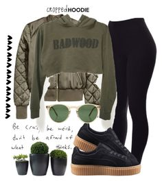 """""""#croppedhoodie"""" by ana-anny-blagojevic ❤ liked on Polyvore featuring Puma, Oliver Peoples and CroppedHoodie"""