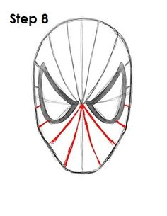 Drawing Superhero How to Draw Spider-Man Step 8 Easy Drawings Sketches, Cute Easy Drawings, Cartoon Drawings, Drawing Designs, Easy Drawing Tutorial, Iron Man Face, Spider Face, Spiderman Drawing, Art Diary
