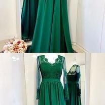 green party dress Long Sleeves Prom Dress applique evening dress v neck Floor-Length formal dress sold by shuiruyandresses. Shop more products from shuiruyandresses on Storenvy, the home of independent small businesses all over the world. Prom Dresses Long With Sleeves, Lace Evening Dresses, Formal Dresses, Green Party Dress, Applique Dress, Long Sleeve, Style, Fashion, Dresses For Formal