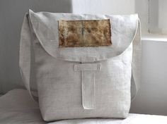 Linen bag with eco print handmade natural dye with rust and