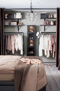 Debbie: I like the open closet for main house. Considering on locker room design in a small space bedroom could be a hard problem to solve. You should find ideas and inspirations on it carefully. Home Bedroom, Bedroom Decor, Bedroom Apartment, Teen Bedroom, Master Bedroom, Bedroom Wardrobe, Bedroom Lighting, No Closet Bedroom, Bedroom Chandeliers