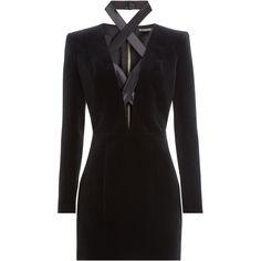 Balmain Lace-Up Mini-Dress (€3.755) ❤ liked on Polyvore featuring dresses, balmain, black, short dresses, velvet dress, short black dresses, black velvet cocktail dress, black velvet dress ve long-sleeve mini dress