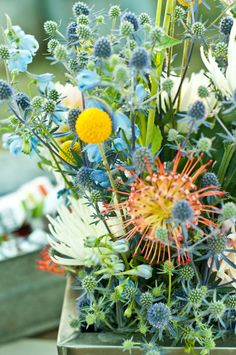 floral arrangement wildflowers and thistle