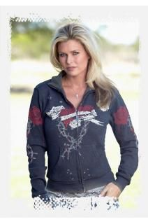 Cowgirl Tuff co. Gray stretchy thermal cadet zip. Heart, banner and rose design in white, black and red.