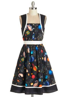 You're Out of this World Dress. Travel through the time of your life in this black, intergalactic A-line by Bea  Dot - a ModCloth exclusive. #multiNaN