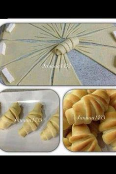 Crescent-shaped pirashki pastries perfectly formed little knots with characteristic trident embellishment cut from one circle of dough Crescent Rolls (picture tutorial only) A way to fancy your crescent rolls! Croissants - love the extra cuts, creates ano Bread Recipes, Cooking Recipes, Bread Shaping, Bread Art, Bread And Pastries, Food Decoration, Snacks, Creative Food, Food To Make