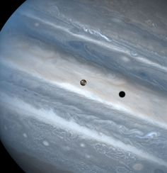 Mesmerizing image of Io transiting #Jupiter from #Hubble