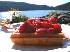 wild strawberry waffles Strawberry Waffles, Wild Strawberries, Pastry Chef, Recipe Of The Day, Fun Stuff, Cheesecake, Spaghetti, Food Porn, Dreams
