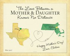 Mothers Day Gift, Custom Gift for Mom, Long Distance Gift for Mom, Knows No Distance Quote, Canvas for Mom, Any Two Places Map Print, Mom and Daughter Keepsake by KeepsakeMaps on Etsy