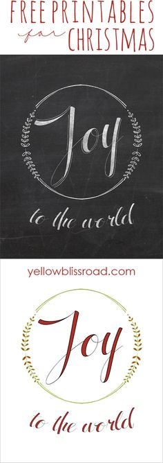 Free Joy to the World printable in chalk and full color versions!