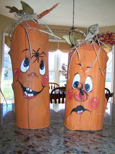 I don't care if it is still September, I'm putting out the pumpkins! I made these pumpkins from old farm fence posts. They were cut and the ...