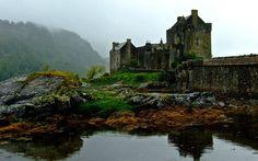 камни, туман, шотландия, замок, эйлен-донан