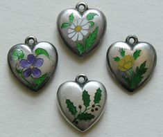 Victorian Enameled Flower of the Month Sterling Heart Charms.jpg.JPG (1207×1015)