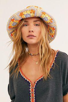 Summer Of Love Straw Bucket Hat by Free People, Orange, One Size Crochet Daisy, Crochet Ripple, Diy Crochet, Wool Applique Patterns, Crochet Patterns, Sombrero A Crochet, Crochet Fashion, Crochet Accessories, Summer Of Love