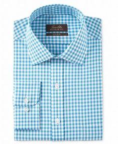 885606b65b0d5 Tasso Elba NEW Aqua Blue Mens Size 15 1 2 Non-Iron Plaid Dress