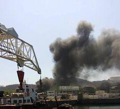 Incendio en la terminal maritima provoca alarma entre habitantes