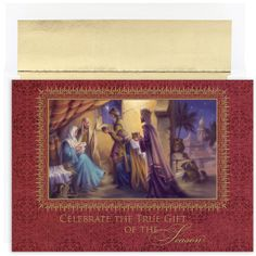 Celebrate The Gift Religious Christmas Card, $14.40 (http://www.mycards4less.com/religious-christmas-cards/nativity-and-creche/celebrate-the-gift-religious-christmas-cards)