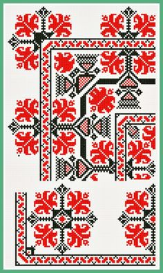 Blackwork Embroidery, Cross Stitch Embroidery, Embroidery Patterns, Beaded Cross Stitch, Counted Cross Stitch Patterns, Red Pattern, Needlework, Diy And Crafts, Projects To Try
