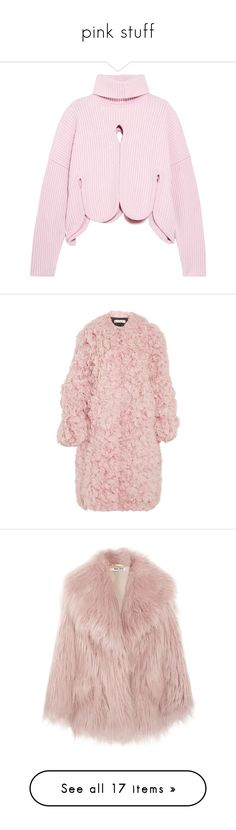 """""""pink stuff"""" by ailatanami ❤ liked on Polyvore featuring tops, sweaters, pink, color block sweater, polo neck sweater, pink sweater, wool blend sweater, block sweater, outerwear and coats"""