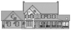 This set of Farmhouse House Plans is very luxurious and comfy. Like multiple things: laundry room upstairs & big kitchen. Sun room. Tub is off by itself