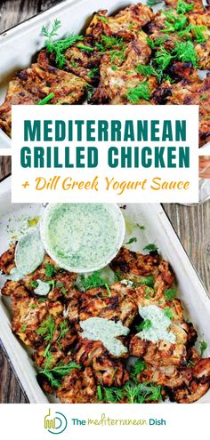 This Mediterranean Grilled Chicken is a must try for dinner. Has the recipe for a Dill Greek Yogurt Sauce that is to die for! Try this for a meal that will impress all your friends and family! #dinnerideas #chickendinner #weeknightmeals Mediterranean Grilled Chicken Recipe, Mediterranean Diet Recipes, Mediterranean Dishes, Grilling Recipes, Cooking Recipes, Healthy Recipes, Clean Eating Recipes, Healthy Eating, Healthy Food