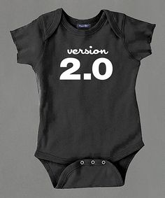 """Black & White """"Version 2.0"""" Bodysuit #zulily #zulilyfinds"""