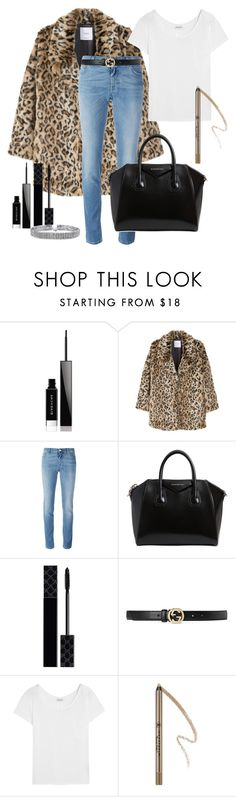 A fashion look from December 2016 featuring t shirts, fake fur coat and slim jeans. Browse and shop related looks. Givenchy, Gucci, Leopard Coat, Frayed Hem Jeans, Anastasia Beverly, White Tees, Bling Jewelry, Beverly Hills, Yves Saint Laurent