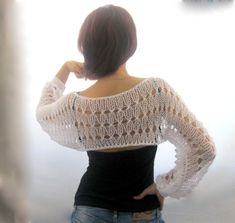 Cotton+Summer+Cropped++Sweater+Shrug+in+white+color+hand+by+Rumina,+$56.00