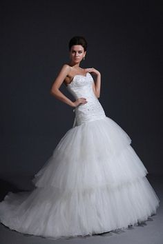 Sweetheart Classic White Wedding Gown - Order Link: http://www.theweddingdresses.com/sweetheart-classic-white-wedding-gown-twdn0721.html - Embellishments: Applique , Draped , Tiered , Beading; Length: Chapel Train; Fabric: Organza; Waist: Natural - Price: 157.32USD