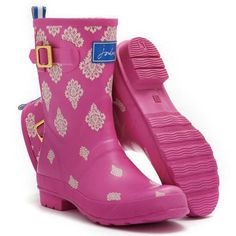 Joules Molly Welly Boots in Pink Print