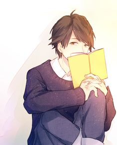 -peeks over book-