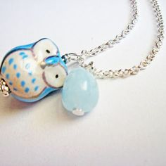 Owl Bead, silver Owl Necklace, ceramic owl, aquamarine