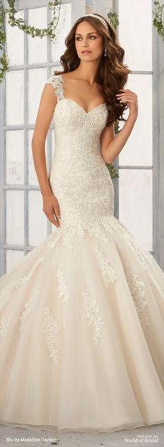 Alencon Lace Appliques with Frosted Beading onto the Tulle, Mermaid Gown