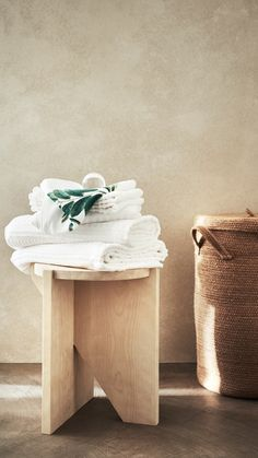 H&M HOME | Learn to love laundry day with plush white towel sets and bamboo-style washing baskets. Find more stylish laundry accessories at hm.com/home or in selected stores.